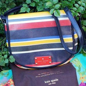 Kate Spade rainbow stripes coated canvas bag